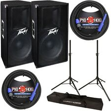 "Peavey PV115 Pair Pro Audio 15"" 2-Way Passive 400W Speaker w/ Stands & Cables"