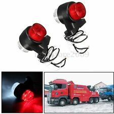 2x 12V 24V 8 LED Red & White Side Marker Light Lamp Trailer Truck Lorry Caravan