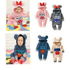 Kids Baby Boys Girls Warm Infant Romper Jumpsuit Bodysuit Hooded Clothes Outfit