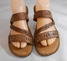 Dr Scholls Gel-Pac Brown Leather Strappy Sandals Womens Size 9