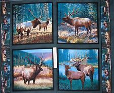 Wild Wings Fabric Panel - Mountain Sky Elk Pillow Case Block Teal Springs 34""