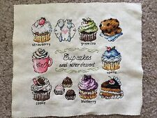 Cup Cakes Coffee Tea Dessert Colorful Finished Cross Stitch Piece