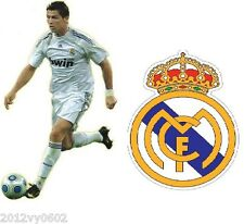 2 X CRISTIANO RONALDO REAL MADRID FOOTBALL CREST WALL ROOM STICKER DECAL VINYL G