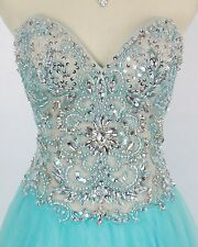 NWT Terani Couture Size 4 Aqua Blue Prom Formal Pageant Ball Gown $300 Long