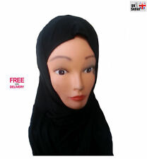 new Children Girl Hijab Black Jersey Cloth Flexible Head Scarf Muslim Quick disp