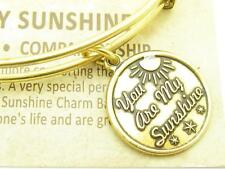 Wind and Fire You Are My Sunshine Charm Gold Wire Bangle Stackable Bracelet