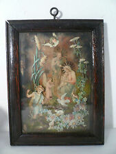 Antique Victorian Paper Cut Outs Baby Jesus Mary & Joseph Framed Layered Collage