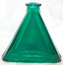GREEN GLASS TRIANGLE BOTTLE
