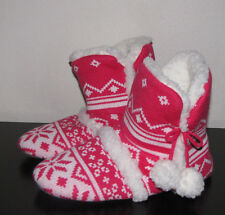 Victoria's Secret Kiss Cashmere Red Fair Isle Sweater Sherpa Slippers Boot M 7-8