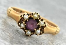 Ladies Antique Victorian 1890s Estate 14K Yellow Gold Amethyst Seed Pearl Ring