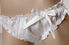 Pearl-White Cream Satin Ruffled Panties Frilly Classic Bikini Knickers MEDIUM