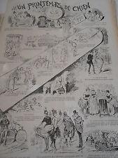 Caricature 1888 Un printemps de Chien Pèle mèle de dessins