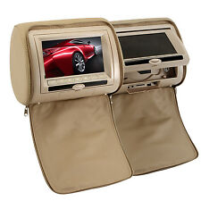 "Dual Beige HD 7"" LCD Car DVD MP3 Player Headrest Pillow Monitor FM Game IR USB"