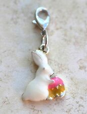 White Easter Bunny & Egg Clip on Single Charm Lobster Claw Clasp Thomas Sabo Fit
