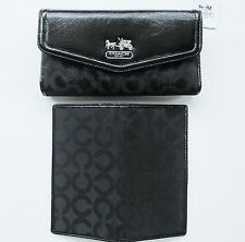 $228 Coach Madison Black Checkbook Wallet 2 PIECES! Op Art Sateen Leather Patent