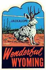 Wyoming    WY  Jackalope  Vintage-Looking Travel Decal/Label/Sticker