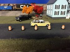 HO scale 1:87 custom built construction barrels - barricades (5) with skirts kit