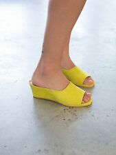 BN MARYAM NASSIR ZADEH 'yves wedge' lemon yellow suede leather sandal heels 37
