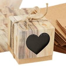 50 Brown Shabby Square Heart Sweets Candy Gift Boxes for Wedding Party Favor