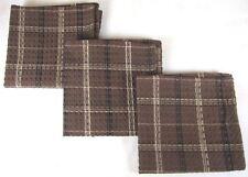 DISH CLOTH SET/3 TANNER BLACK BROWN TAN PLAID WAFFLE WEAVE 100% COTTON