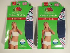 2 NIP FRUIT OF THE LOOM Size 7 (12-14) Boy Shorts Underwear Panties~6 Pairs