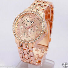 Womens Fashion Geneva Crystal Bracelet Wrist Watch Rose Gold Designer Style