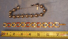 Lot of 2 Vintage Monet Bracelets Silver Tone Bead Gold Tone and Red Link 7""