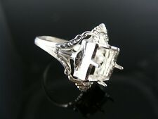R3AR3B ANTIQUE RING SETTING STERLING SILVER, SIZE 6.5, 8X8 MM SQUARE FACETED ST