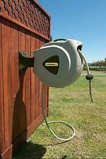 Stanley 65' Automatic Retracting Garden Water Hose Reel Swivel Wall Mount NEW