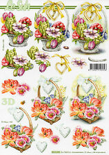 3D Motivbogen / Etappenbogen Grußkarte Scrapbooking Blumen im Korb (305) Basteln