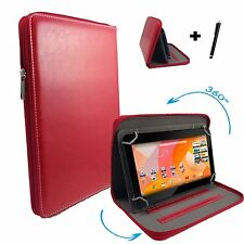 "7"" Case Cover Book For Samsung Galaxy Tab A 7.0 (2016) Tablet - Zipper 7'' Red"