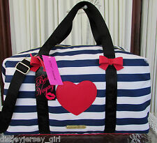 Betsey Johnson Weekender Away We Go Nautical Travel Tote Bag Red White Blue NWT