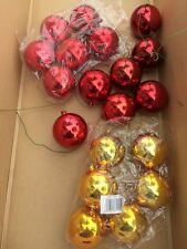 Lot of 19 Red & Gold Wired Shatter Proof Plastic Ball Christmas Ornaments