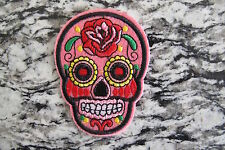 #5111H  Pink Sugar Skull Biker Motorcycle Embroidery Iron On Appliqué Patch