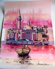 Israeli Art Judaica  The Port of Acco Original Watercolor L. Lalum 27x19.5