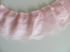 1yd 3-layer Pleated Organza Lace Edge Trim Gathered Mesh Chiffon Ribbon Pink DIY