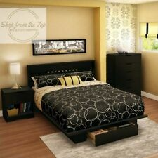 South Shore Full Queen Bedroom Platform Bed with Drawer Pure Black