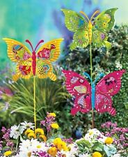 Set Of 3 Metal Butterfly Garden Stakes Colorful Yard Art Flowerbed Home Decor