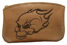 New Leather Engraved Flaming Skull Zippered Coin Pouch Change Purse USA Made