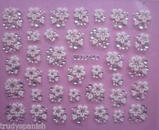 3D Nail Art Lace Stickers Transfers WHITE SILVER Flowers Rhinestone Practical