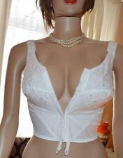 White 1950's long line front fastening bra with shoulder support 56C