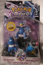 Pokemon Figure 3 Pack Golduck Croagunk Chatot Diamond & Pearl JAKKS 2007 Posable