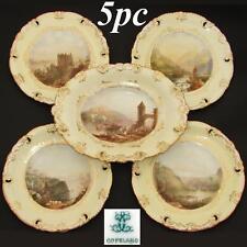Antique W.T. Copeland 5pc Cabinet Plate & Serving Dish Set, HP Grand Tour Scenes