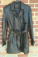 Members Only Ladies Black Leather Trench Coat Jacket Size 6 EUC