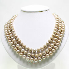 "8-8.5MM BEAUTIFUL CHAMPAGNE CULTURED PEARLS HAND KNOT ENDLESS NECKLACE 60"" TPJ"