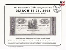 2003 Baltimore Coin Show Souvenir Card - $500.00 The Bank of Maryland - BLT14sc