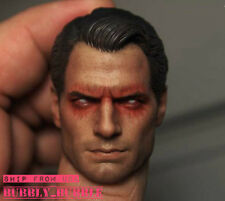 1/6 Superman Head Red Eye Clark Kent Henry Cavill For Hot Toys SHIP FROM USA