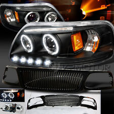 99-02 Ford Expedition F150 Halo Projector Headlights+ABS Vertical Grille Black