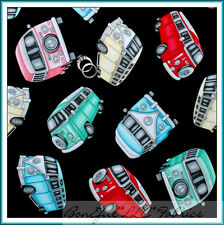 BonEful Fabric FQ Kombi Car VW Van Woodstock Peace Camp Bus Retro Groovy Hippie