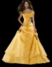 Evening dress prom womens bridesmaid wedding dress formal gown size 4 yellow